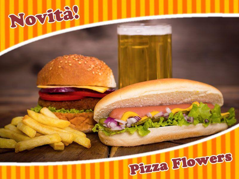 offerta menu hamburger hot dog patatine - promozione menu panino patatine asporto pizza flowers