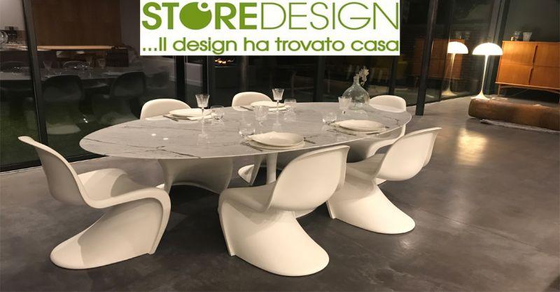 Offerta Tavolo ovale Tulip made in Italy - Occasione Tavolo Tulip Saarinen in marmo