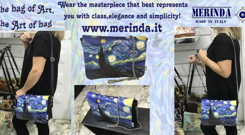 MERINDA - Offer production sale art bags art backpacks made in Italy Van Gogh starry night
