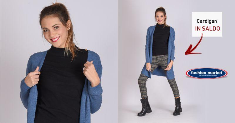 Fashion Market offerta Cardigan lungo donna - occasione Cardigan elegante color avio