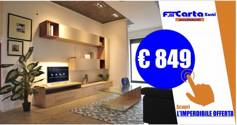 FRATELLI CARTA ORISTANO - offerta parete soggiorno moderna 3mt materico laccato opaco