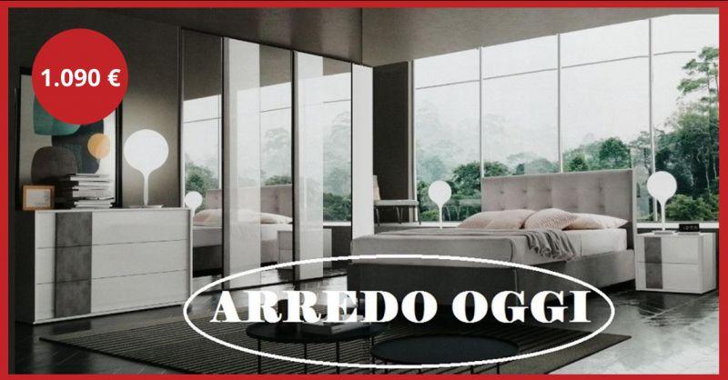 offerta camera con armadio a specchio caserta - occasione camera bianca e grigia napoli