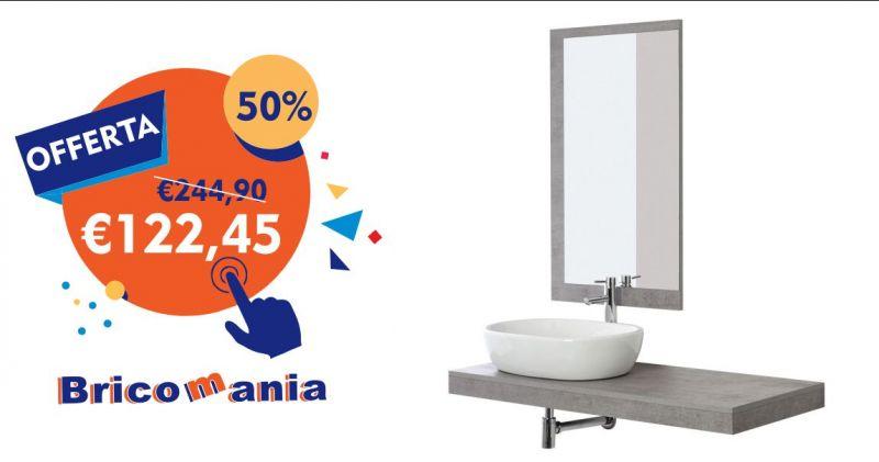BricoMania Oristano - offerta composizione bagno Shelf color cemento ciotola 60cm e  specchio